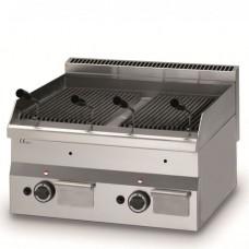 Griglie pietra lavica, modello BM-FPL6060, realizzata in acciaio inox AISI 304, potenza gas 5,5 Kw, n° 2  bruciatori, dimensioni 280x600x600h mm