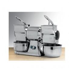 Grattugia doppia professionale GD, norma CE, 230/400V trifase, dimensioni 540x220xh380 mm, rpm 900, produzione oraria 90 kg