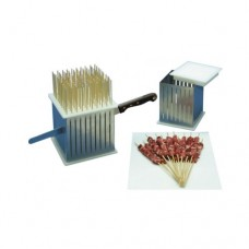 Cubo professionale per arrosticini adatto al contatto alimentare, in acciaio inox, dimensioni cubo 160x160x160 mm, n. di arrosticini 100