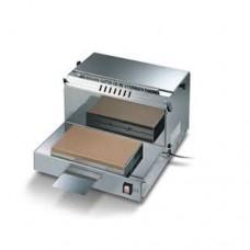 Impacchettatrice manuale in acciaio inox, taglio con filo caldo a bassa tensione,modello DIPA R, a norma CE, dimensioni 465x500x290h mm