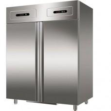 Armadio refrigerato GN2/1 statico, acciaio inox, GN1200DT, doppia temperatura+2°C+8°C e -18°C-22°C, dimensioni 560x653x1386 mm, capacità 552 + 552 lt