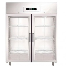 Armadio refrigerato GN2/1 in acciaio inox AISI 304 modello GN1410TN G, capacità 1325 Lt, dimensioni 1480x830x2010 mm, temperatura -2°C + 8°C