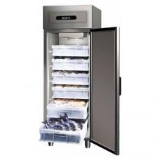 Armadio refrigerato GN2/1 statico, in acciaio inox AISI 304, modello GN600FISH, dimensioni 680x810x2010 mm, capacità 507 lt, temperatura -5°C+2°C