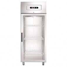 Armadio refrigerato GN2/1 in acciaio inox AISI 304 modello GN650TN G, dimensioni 740x830x2010 mm, 650 lt, temperatura -2°C + 8°C