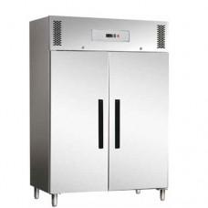Armadio refrigerato GN2/1 ventilato, in acciaio inox AISI 430, modello ECV1200TN, dimensioni 1340x845x2000h mm, capacità 1173 Lt, temperatura +2°C + 8°C