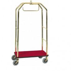 Carrello portavaligie con appendiabiti PV 4062 acciaio ottonato, dimensioni 95x55x190h cm