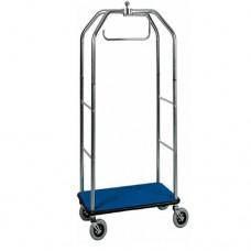 Carrello portavaligie con appendiabiti PV 4064 acciaio cromato, dimensioni 95x55x190h cm