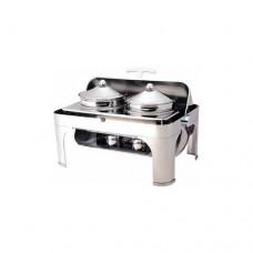 Chafing dish con coperchio roll top 180° CD 6505, in acciaio inox lucido,dimensioni 65x47x45h cm