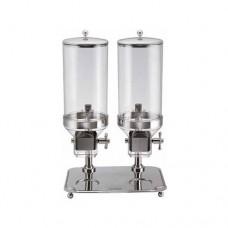 Distributore cereali doppio DC 10302 struttura in acciaio inox, dimensioni 48x26x66h cm