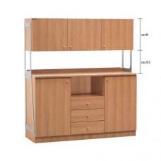 Mobile di servizio in legno, con 2 sportelli 3 cassetti e 3 pensili, dimensioni esterne 137x48x153h cm, modello  ML 3214SSPN