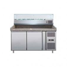 Banco refrigerato pizzeria ventilato, in acciaio inox AISI 304 temperatura +2° +8° C, dimensioni 1510x800x990h mm, capacità 5 GN1/3 + 1 GN1/2