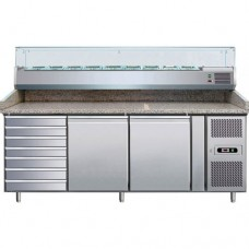 Banco refrigerato pizzeria ventilato, in acciaio inox AISI 304 temperatura +2° +8° C, dimensioni 2025x800x990h mm, capacità 10 GN1/4