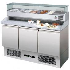 Banco refrigerato pizzeria ventilato, in acciaio inox AISI 304 temperatura +2° +8° C, dimensioni 1400x700x1030h mm