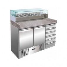 Banco refrigerato per pizzeria ventilato, +2°C + 8°C , in acciaio inox, modello S903PZ CAS, dimensioni 1420x700x1030 mm, senza vetrina