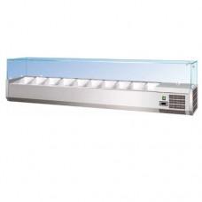Vetrina refrigerata statica, interamente in acciaio inox AISI 304, capacità 10 GN 1/4, dimensioni 2000x330x400h mm