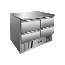 Saladette refrigerata statica, struttura in acciaio inox AISI 304, temperatura +2° +8° C dimensioni 900x700x870h mm modello S901-4D