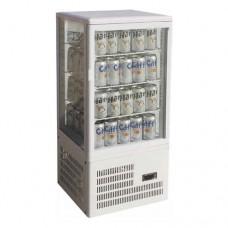 Vetrina espositiva 4 lati da banco refrigerazione ventilata, struttura in vetro e acciaio inox temperatura +2° +8° C dimensioni 428x386x930h mm