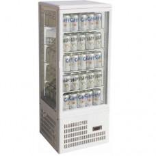 Vetrina espositiva 4 lati da banco refrigerazione ventilata, struttura in vetro e acciaio inox temperatura +2° +8° C dimensioni 428x386x1150h mm
