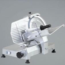 Affettatrice a gravità, trasmissione a cinghia, a norme CE, lama 300 mm, disponibile sia monofase che trifase, capacità di taglio 250x205 mm Ø 205 mm, modello BM-AF300GR