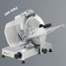 Affettatrice a gravità, trasmissione a cinghia, a norme CE, lama 300 mm, disponibile sia monofase che trifase, capacità di taglio 220x225 mm Ø 225 mm, modello BM-AF300GRC