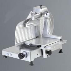 Affettasalumi verticale, trasmissione a cinghia, a norme CE, lama 330 mm, disponibile sia monofase che trifase, capacità di taglio 300x230 mm Ø 230 mm, modello BM-AF330VS