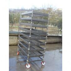 Carrello con baltresche in acciaio inox Aisi 304,dimensioni standard per baltresche da 1100x600 mm