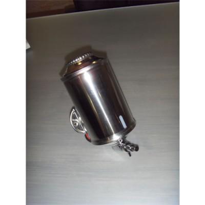 Dosatore per sapone, completamente in acciaio inox AISI 304, da fissare a muro, dimensioni: altezza 20 cm, diametro 10 cm. Prodotto nuovo.