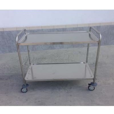 Carrello professionale inox rinforzato su 4 lati, dimensioni 1090x590xh930 mm, con 2 piani lisci 1000x555 mm, portata per piano 120 kg