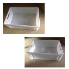 Cassetta sovrapponibile bianca, certificata per alimenti, dimensioni 60x40xh20 cm, 40 lt, modello 1875M3/BI