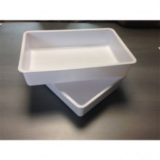 Vaschette in plastica bianche, dimensioni 30x20xh6 cm, da 3 lt, adatte al contatto alimentare. Modello SC-56M/BI