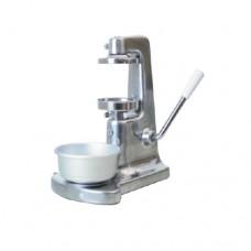 Hamburgatrice manuale in alluminio lucidato con stampo di Ø 100 mm, dimenisoni 200x300x380h mm