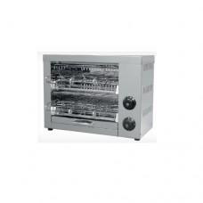 Tostapane a 2 livelli, telaio in acciaio inox, 3 pinze incluse, dimensioni 330x225xh340 mm