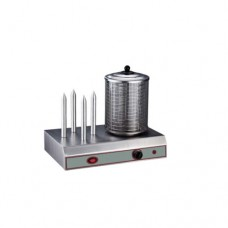 Cuoci hot dog, macchina in acciaio inox, 4 punzoni in alluminio, cilindro in vetro, coperchio in acciaio, dimensioni 490x320x440 mm
