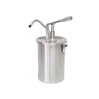 Dosatore per salse in acciaio inox, capacità 5 lt, dimensioni 180x420 mm