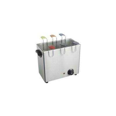 Cuoci uova elettrico in acciaio inox, completo di 6 cestelli per uova, capacità acqua 3 lt - max 4lt, dimensioni 370x230x300 mm