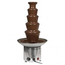 Fontana di cioccolato, completamente smontabile e facile da pulire, in acciaio inox AISI 304, funzionamento con vite senza fine, capacità 6,5 Kg di prodotto preparato, dimensioni Ø290x800h mm