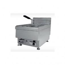 Friggitrice professionale singola in acciaio inox a gas, dimensioni 400x650x475 mm, capacità 10 lt