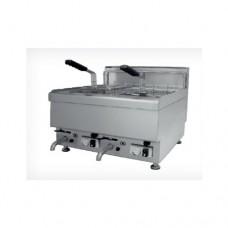 Friggitrice professionale doppia, a gas, in acciaio inox, modello SC-FRBG 10+10, dimensioni 600x650x475 mm, capacità 10+ 10 lt