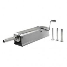 Insaccatrice orizzontale in acciaio inox, capacità 3 lt, in dotazione 4 imbuti, dimensioni 420x210x210 mm