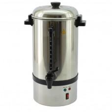 Percolatore capacità 15/18 litri, contenitore in acciaio inox, indicatore di livello, secondo sistema di riscaldamento per mantenere il calore dopo l'infusione, dimensioni Ø 220x510h mm