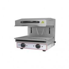 Salamandra in acciaio inox, ideale per tostare, riscaldare, grigliare, dimensioni 600x520x530 mm, piano cottura 590x320 mm, con doppio termostato