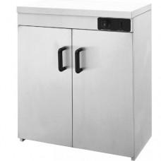 Scaldapiatti con telaio in acciaio inox, capacità 110/120 piatti, temperatura massima 85°C, dimensioni 750x450x850h mm