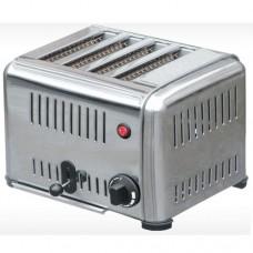 Toaster professionale con telaio in acciaio inox, funzione timer, capacità 4 fette, peso 6 Kg, potenza 1,9 - 2,3Kw230 V, dimensioni 300x220x215 mm