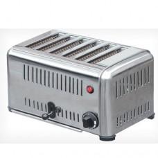 Toaster professionale con telaio in acciaio inox, funzione timer, capacità 6 fette, peso 8 Kg, potenza 2,7 - 3,3Kw/230 V, dimensioni 425x220x215 mm