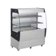 Vetrina espositiva refrigerata, capacità 200 lt, 2 piani regolabili in acciaio inox, dimensioni 1000x560x1250 mm