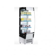 Vetrina espositiva refrigerata, capacità 220 lt, 3 piani regolabili in acciaio inox, dimensioni 494x674x1740 mm