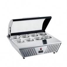 Vetrina refrigerata, capacità 67 Lt, dimensioni 767x612x328 mm, in dotazione 8 vasche GN da 1/6 in acciaio inox
