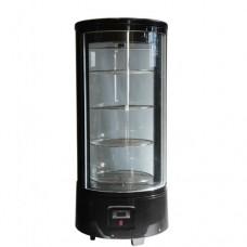 Vetrina espositiva refrigerata, capacità 72 litri, ripiani cromati autorotanti, doppio vetro, temperatura 0°C + 10°C, dimensioni 450x450x983h mm