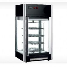 Vetrina espositiva refrigerata, capacità 108 litri, struttura autorotante con 4 ripiani cromati Ø 36cm, doppio vetro, temperatura 0°C + 10°C, dimensioni 475x475x870h mm