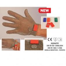 Guanto in acciaio inox, antitaglio, 5 dita con gancetto magnetico, disponibile taglie da XXS a XL